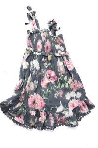 Zimmermann Girls Cotton Sleeveless Smocked Floral Day Dress Grey Size 6