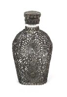 Antique Vintage Reticulated Metal Filigree Overlay Decanter Bottle Perfume