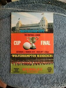 3/2/74 MANCHESTER CITY VS WOLVERHAMPTON WANDERERS  CUP FINAL WEMBLEY STADIUM