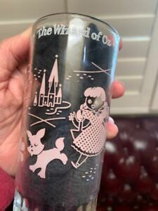 Vintage Drinking Water Glass Jelly Jar Pink Wizard Of Oz Dorothy Swift Co