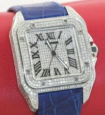 Cartier Santos 100 XL Full Diamond 6ct Herrenuhr Mit Box Und Papieren Top Zusta.