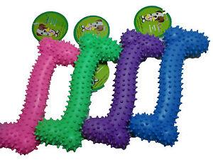 4 x Dog Rubber Bone Shaped 15CM Dental  Play Fun Toy Chew Pink Blue Purple Green