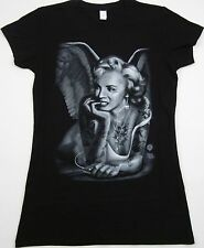 MARILYN MONROE T-shirt Tattoo Angel Wings MP3 Music Tee JUNIORS LARGE Black New