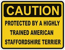 1x Caution Protected By American Staffordshire Terrier Funny Sticker Dog Pet