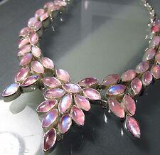 Plata esterlina 74gr Pink MOONSTONES Cluster Diseño 18.5 Pulgadas Collar.