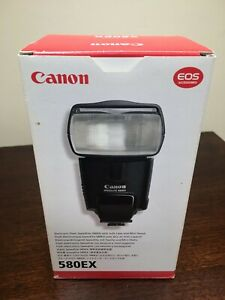 Canon Speedlite 580EX Shoe Mount Flash with Sto-fen Omnibounce diffuser EUC Box