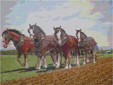 Cross Stitch Chart Horse Plough Cropped Aida Needlework Picture Craft
