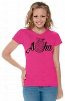 Aloha Hawaiian Ladies T-SHIRT Pineapple Apparel Fruit Beach Summer Shirt A2
