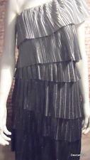 stunning metallic silver grey ruffle frill one shoulder dress sleeveless 12 14