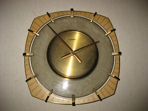 DIEHL Junghans Atomic Modernism Electric Mechanical German Brass Wall Clock Rare