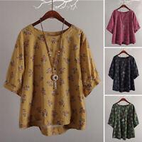 ZANZEA Women Short Sleeve Floral Print T-Shirt Tee Shirt Blouse Shirt Tops Plus