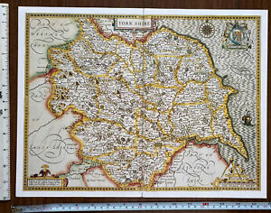 Old Antique Collectable Tudor map Yorkshire, England: John Speed 1600's Reprint