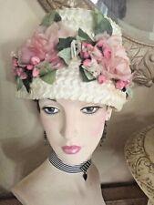 Vintage Ladies Straw Hat W/Millinery Flowers Floral Pink Roses Hanging Buds