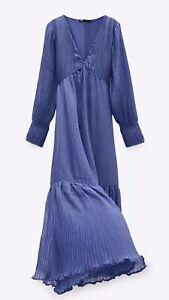 ZARA LONG BLUE /& WHITE FLORAL PRINT MAXI DRESS RUFFLES VINTAGE Sz XS-XL SS20