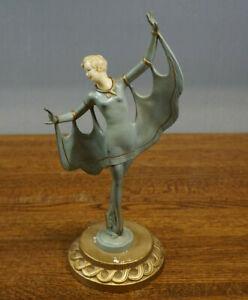 Antique Art Deco Ballerina Statue Figurine Sculpture Dancing Lady Chalk Base