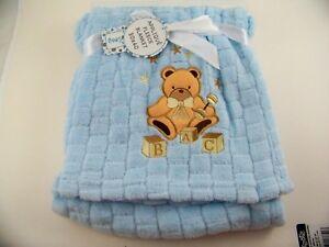 "Snugly Baby Fleece Baby Blanket Teddy Bear Applique Soft Cozy Blue 30"" x 40"""