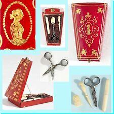 MINIATURE nécessaire de couture POUPÉE jouet ancien Antique doll tiny sewing box