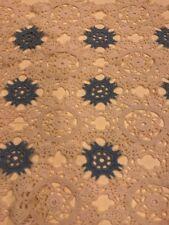 """Vintage 12"""" X 34"""" blue & White Table Runner Dollie Dresser Topper Hand Crochet"""