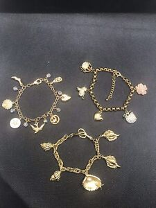Job lot of 3 gorgeous designer statement style sparkly charm bracelets bling