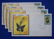 "Palau (121B-121E) 1987 Butterflies Colorano ""Silk"" FDCs"