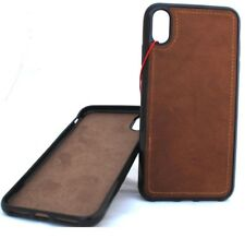 Genuine Leather Case for Apple iPhone XR Handmade Cover Rubber Magnetic Luxury