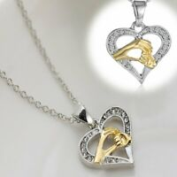 2019 Cubic Zirconia Crystal Necklace Pendant Heart Love Family Jewelry Gift New