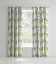 Banbury Floral Easy Care Eyelet Curtains Green, 66x72 Inch