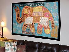HANDMADE ELEPHANT BOHEMIAN PATCHWORK WALL HANGING EMBROIDERED TAPESTRY INDIA X26