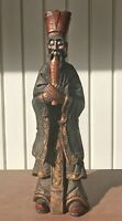 "VINTAGE HEAVY WOOD HAND CARVED HAND PAINTED CHINESE EMPEROR SCULPTURE 24""T"