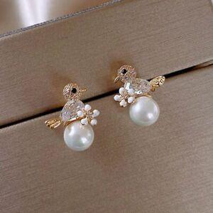 Animal Bird Zircon Pearl Stud Earrings Drop Dangle Women Wedding Jewelry Gift