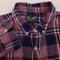 Retrofit Men's Flannel Shirt Size Large Long Sleeve Plaid Red Blue