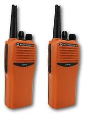 MOTOROLA CP040 UHF 4 WATT TWO WAY WALKIE-TALKIE RADIOS x 2 HI-VIZ ORANGE