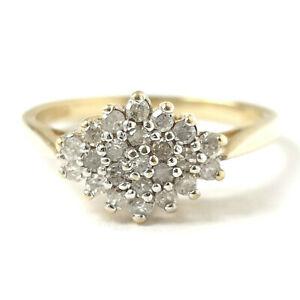 9ct Gold Diamond Ring 0.25ct Yellow Size L 1/2 2.2g Hallmarked