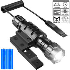 1200 Lumen Tactical Flashlight Rechargeable with M-Lok Rail Mount Remote Switch