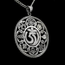 Pendant Hand Cut Mandala Good Luck Symbol Buddhism Big Buddha Silver t83