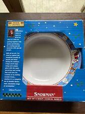 "Debbie Mumm Set Of 4 Christmas Snowman Soup/Cereal Bowls by Sakura 7.5"" NIB"