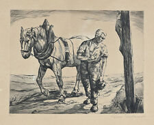 Unknown Unidentified European: Farmer & Horse / German Polish Vintage S/Etching