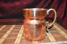 """Vintage Copper Pitcher or Utensil Holder with Brass Handle 6 1/4""""x5 3/4"""""""