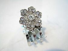 Tiny mini silver metal flower hair claw clips with crystals