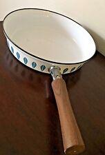 Vintage Midcentury Modern Catherineholm Lotus Enamelware Pan Skillet Wood Handle
