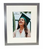 "Satin Silver Colour Brushed Aluminium Photo Picture Frame Mount 5 x 7"", 10 x 8"""