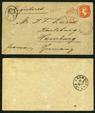 St Vincent SG58 1/- Orange on Registered cover to Germany Cat 18 x 8 = 144 poun