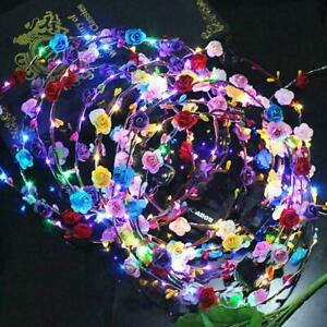 LED Crown Light Up Flower Floral Wreath Hairband Headband Garland Party Q7N7