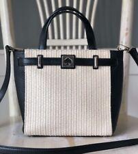 KATE SPADE New York Houston Street Leo Straw Black Satchel Shoulder Handbag