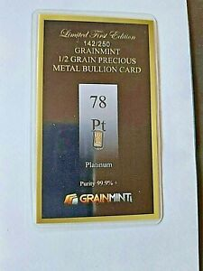 ONE HALF GRAIN 999 PURE PT PLATINUM  BAR with fast free shipping
