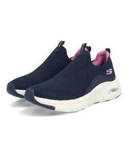 Scarpe Donna Sportive Slip-On Skechers Arch Fit Blu Air Cooled Sneaker Camminata