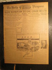 Titanic Ship Newspaper 1912 MANY WOMEN CHOSE DEATH MRS STRAUSS REFUSE TO SAVED
