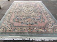 Vintage Hand Made Art Deco Chinese Oriental Pink Green Wool Rug Carpet 366x272cm