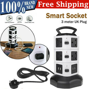 3M 10 Way Extension Lead Cable Surge Protected Tower Power Socket 4 USB Port