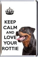 KEEP CALM and LOVE YOUR ROTTIE with an image of a Rottweiler Dog Fridge Magnet